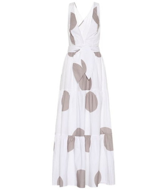 Alexandra Miro Raphaela dotted cotton maxi dress in white