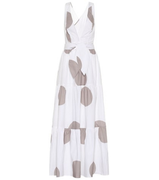 Alexandra Miro Raphaela dotted cotton maxi dress in white