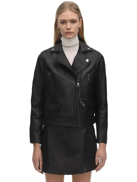KARL LAGERFELD Ikonik Leather Biker Jacket in black