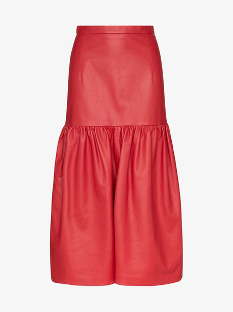 Christopher Kane high-waisted gathered leather midi skirt in red