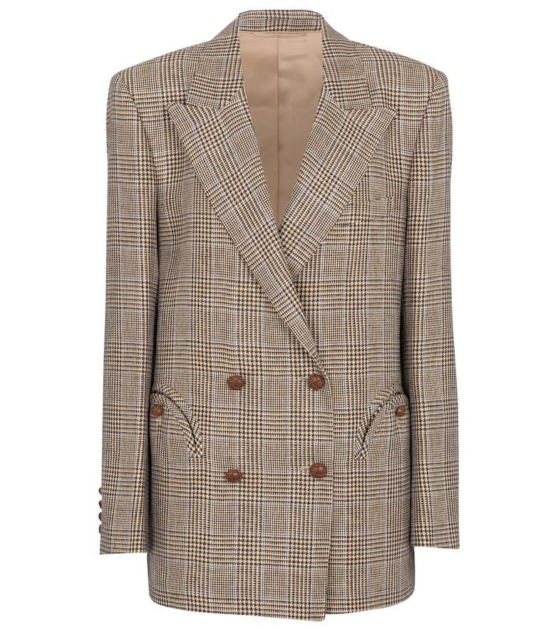 Blazé Milano Merit Everynight checked linen and wool blazer in brown