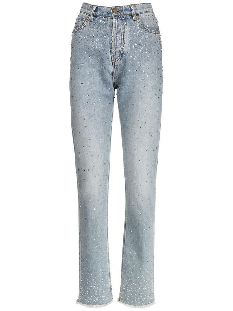 ALEXANDRE VAUTHIER Cotton Denim Skinny Embellished Jeans in blue