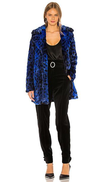 NBD Stellar Faux Fur Coat in Blue