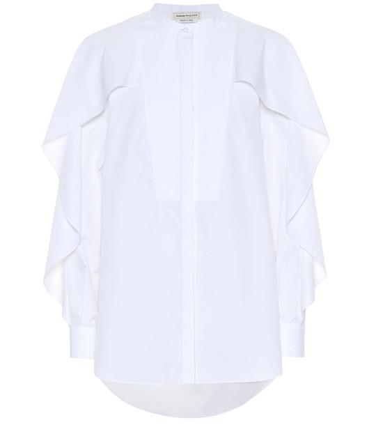Alexander McQueen Ruffled cotton blouse in white