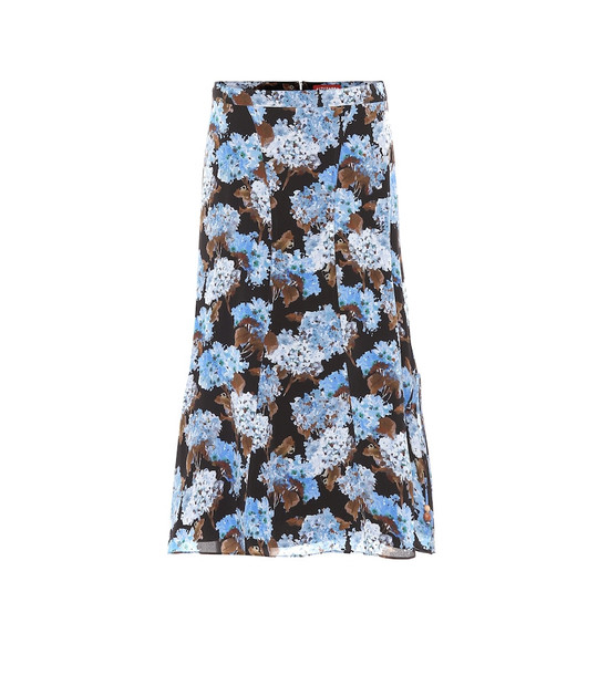 Altuzarra Exclusive to Mytheresa – May floral high-rise silk midi skirt in blue