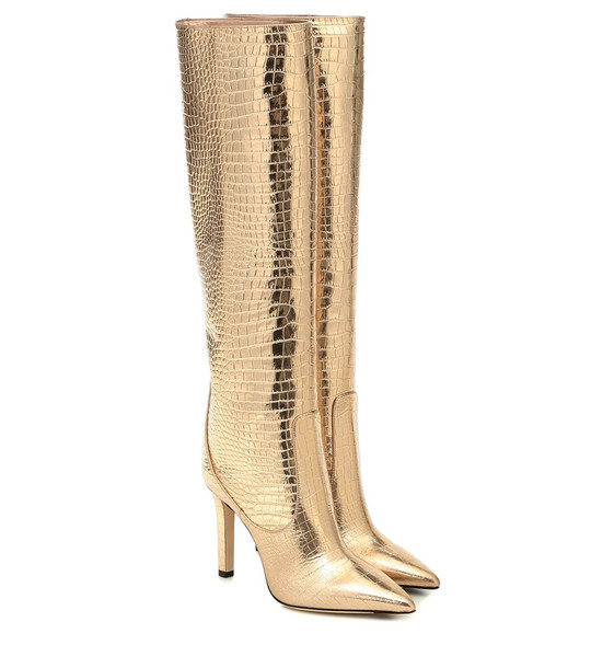 Jimmy Choo Mavis 100 leather knee-high boots in gold