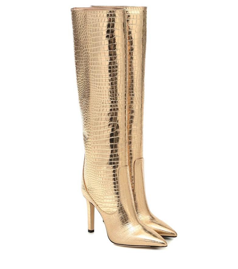 Jimmy Choo Mavis 100 leather knee-high boots in gold