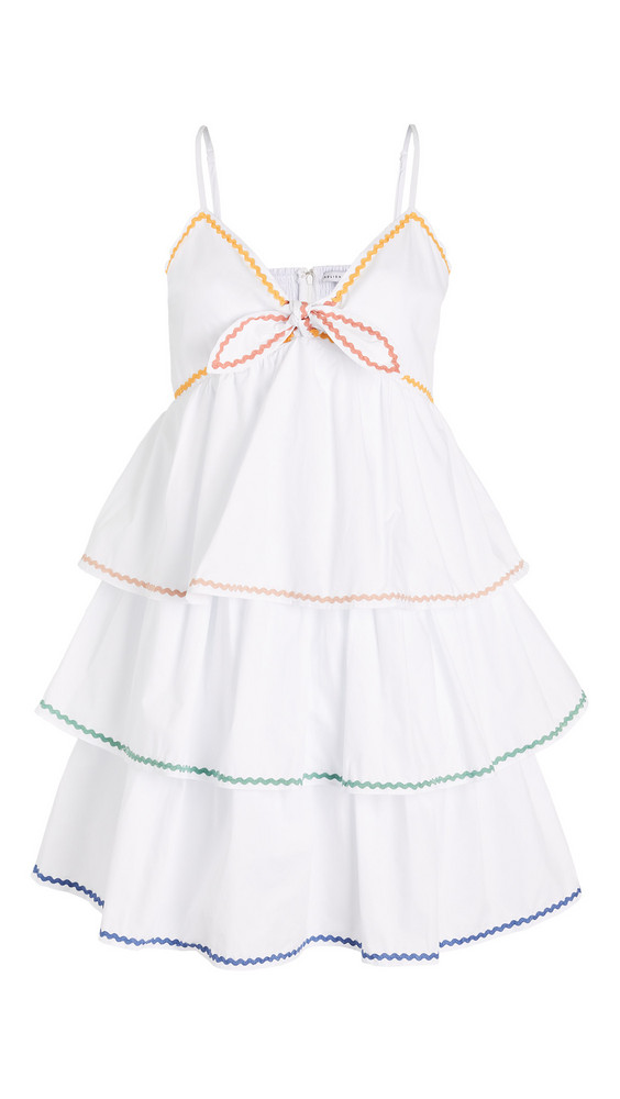 ENGLISH FACTORY Colorblock Wave Trim 3 Tiered Dress in white