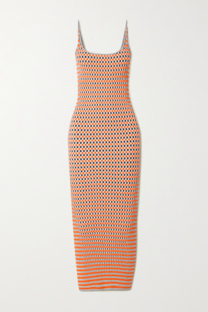 Paco Rabanne - Ribbed Checked Cotton Jacquard-knit Midi Dress - Orange