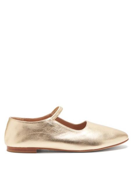 Mansur Gavriel - Glove Metallic-leather Mary-jane Flats - Womens - Gold
