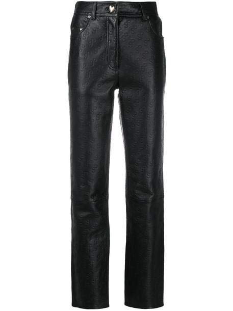 Saks Potts leather logo embossed trousers in black