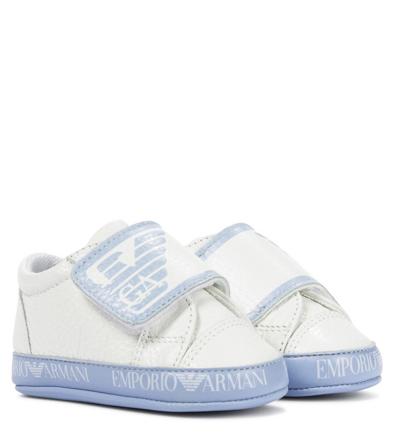Emporio Armani Kids Baby logo leather sneakers in white