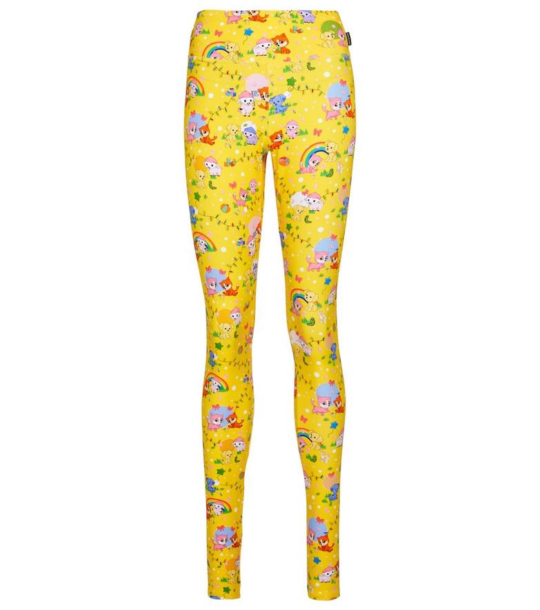Balenciaga Printed stretch-cotton leggings in yellow