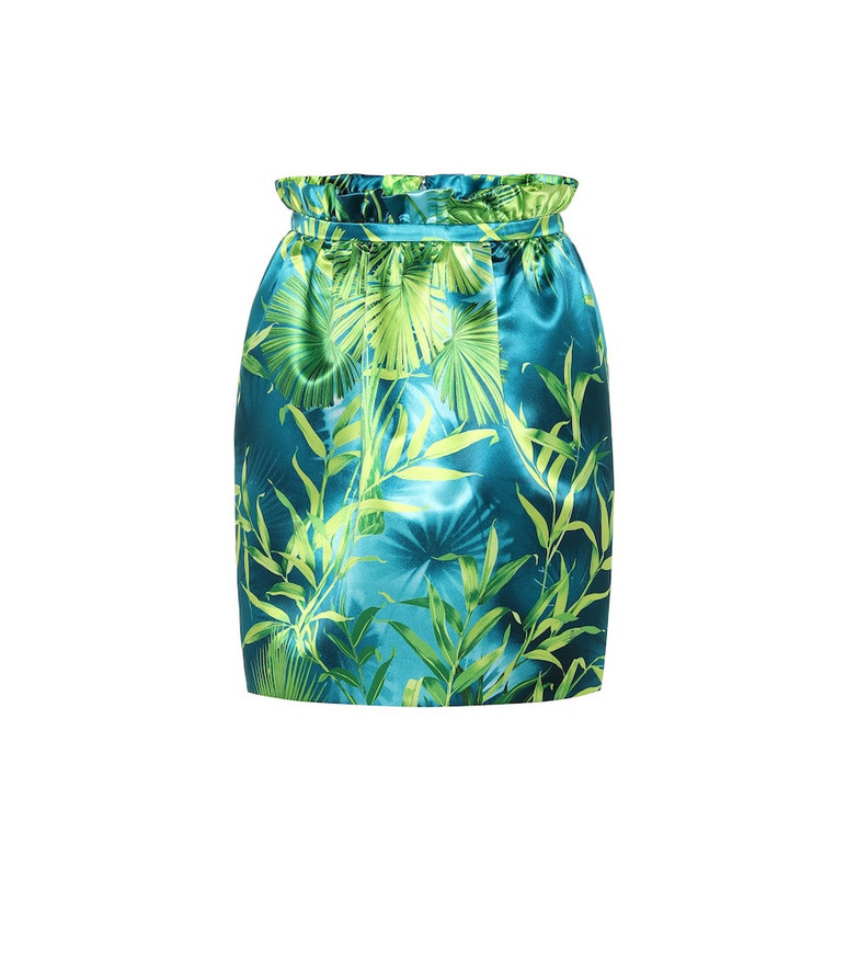 Versace Jungle-print satin miniskirt in green