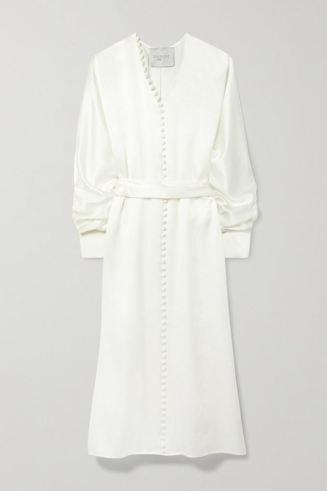 ENVELOPE ENVELOPE1976 - Cannes Belted Button-detailed Silk-satin Midi Dress - White