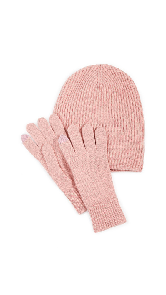 Naadam Hat and Gloves Set in pink