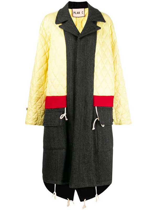 Plan C panelled quilted coat in yellow