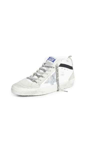 Golden Goose Mid Star Sneakers in black / silver / white