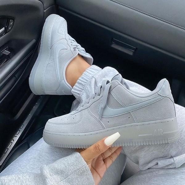 shoes nike air force sneakers grey faux suede nike