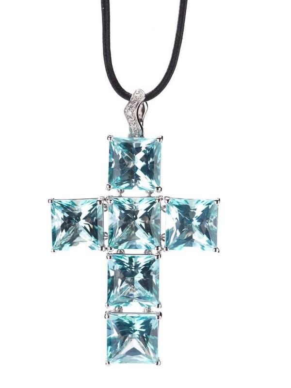 Gavello cross pendant necklace in blue