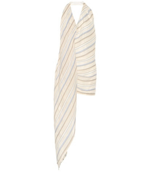 Jacquemus La Robe Spezia striped minidress in beige / beige