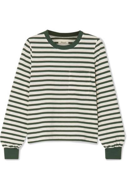 Madewell - Caressa Striped Cotton-blend Jersey Top - Dark green
