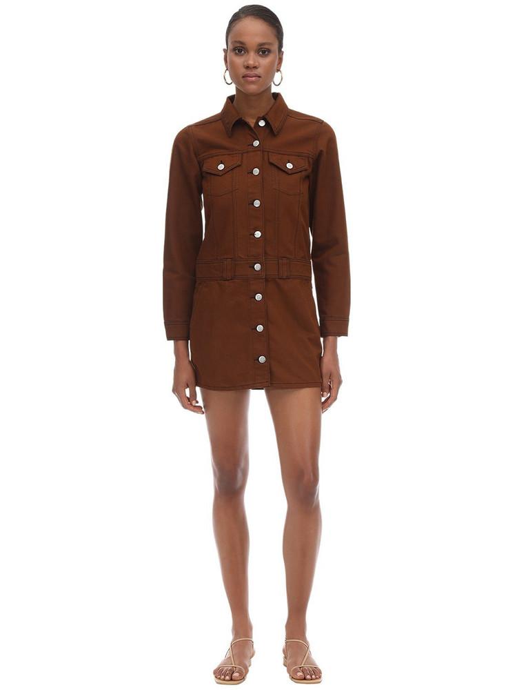 GANNI Cotton Denim Mini Dress in brown