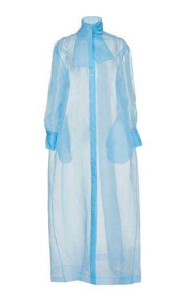 MATÉRIEL Silk Organza Maxi Shirt in blue