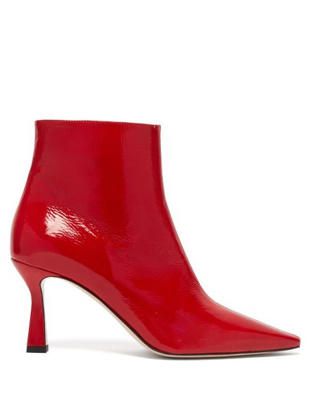 Wandler - Lina Point Toe Leather Ankle Boots - Womens - Red