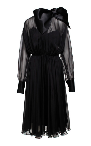 Anouki Silk Bow Accented Midi Dress Size: 38 in black