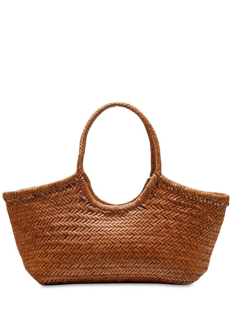 DRAGON DIFFUSION Big Nantucket Woven Leather Basket Bag in tan