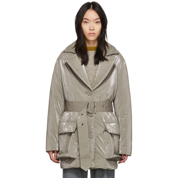 Eckhaus Latta Grey Down Tailored Puffer Coat