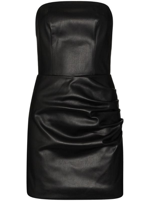 De La Vali Connie faux leather mini dress in black