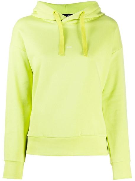 A.P.C. mini logo hooded sweatshirt in green