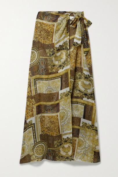 Versace - Printed Silk-georgette Pareo - Brown