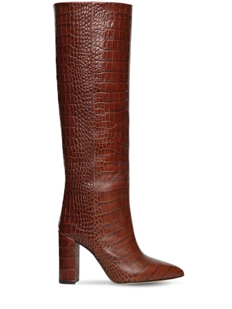 PARIS TEXAS 100mm Tall Croc Embossed Leather Boots in brown