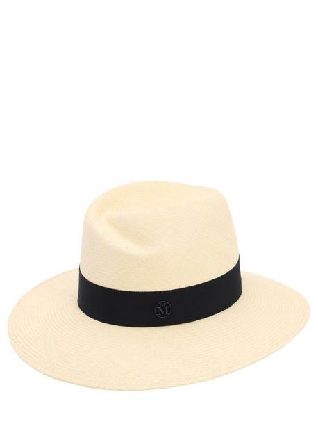 MAISON MICHEL Virginie Straw Hat in navy / natural