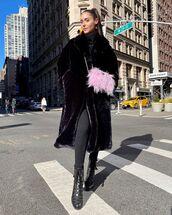 coat,faux fur coat,black coat,black boots,black leggings,turtleneck sweater,black sweater,feathers,pink bag