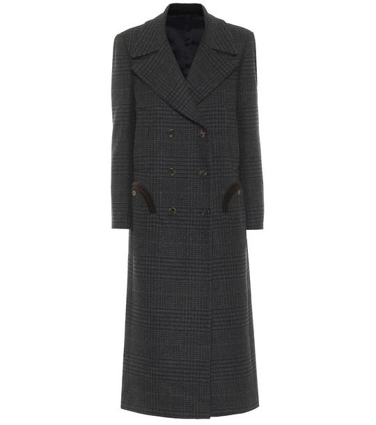 Blazé Milano Jack checked virgin wool coat in grey