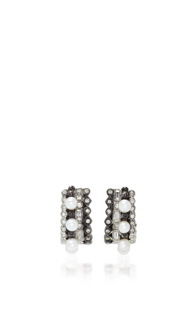 Colette Jewelry Massai 18K Oxidized Gold Diamond and Pearl Earrings in black