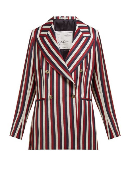 Giuliva Heritage Collection - The Stella Double Breasted Striped Wool Blazer - Womens - Red Multi