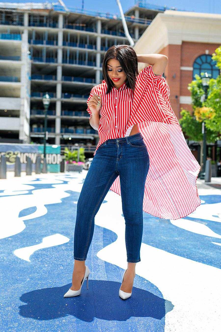 jadore-fashion blogger shirt jeans shoes pumps striped shirt skinny jeans top asymmetrical high waisted jeans