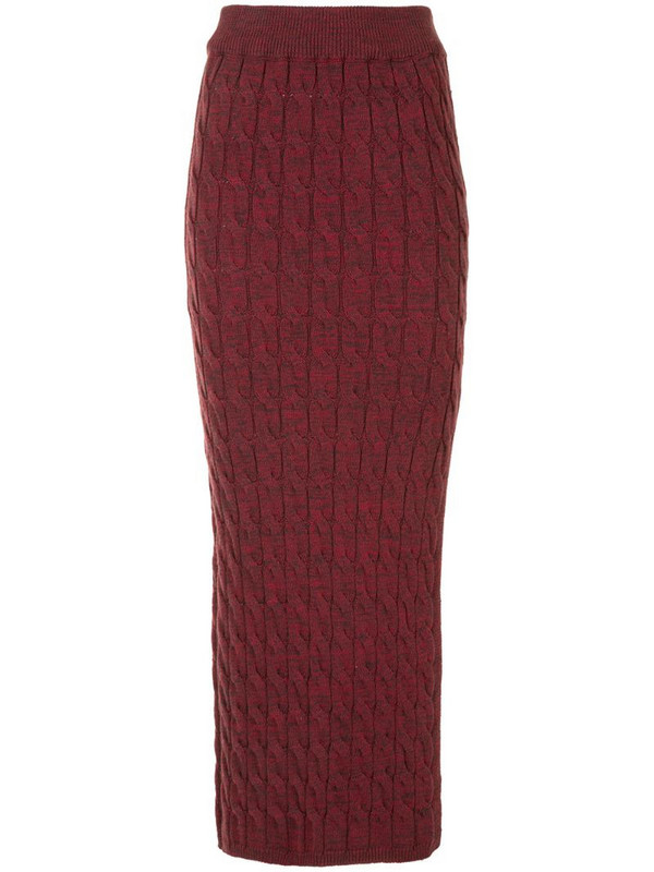 Anna Quan cable-knit long skirt in red