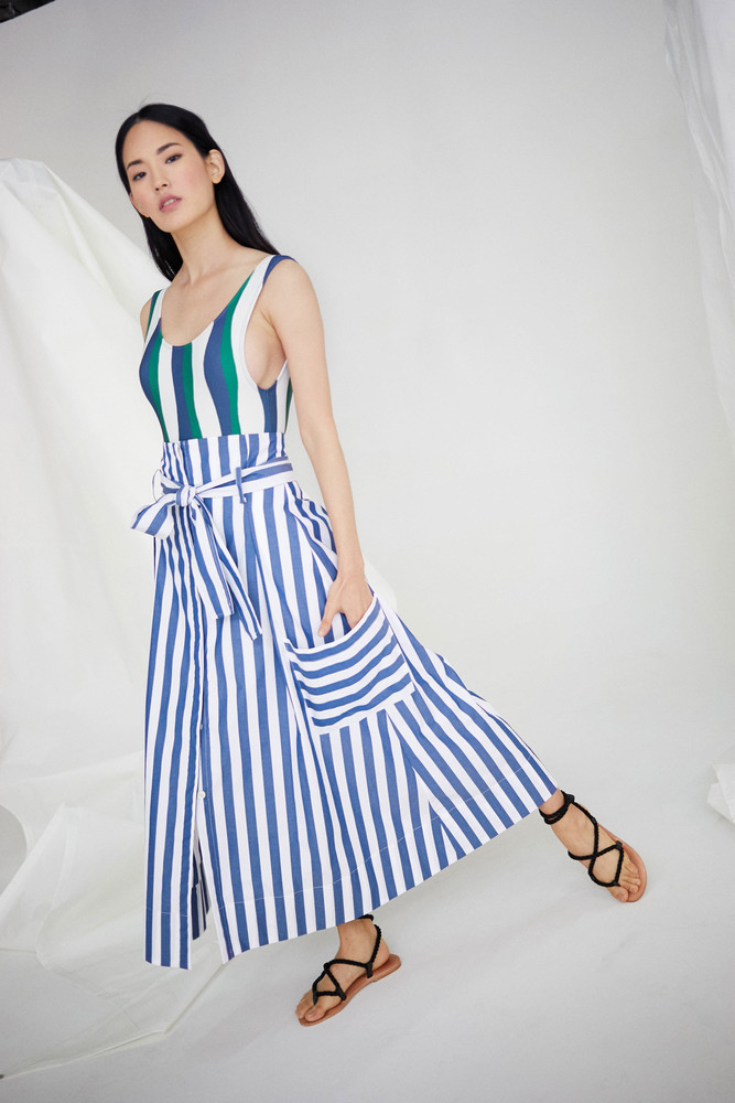 WHIT Pocket Skirt in Vertical Stripes *Pre-order for April Delivery*