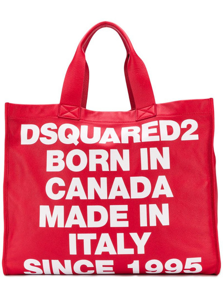 Dsquared2 large logo tote bag in red