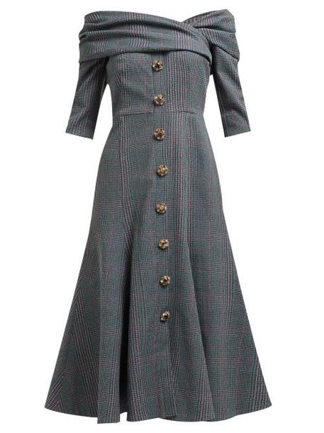Erdem - Iman Off The Shoulder Plaid Twill Midi Dress - Womens - Grey Multi