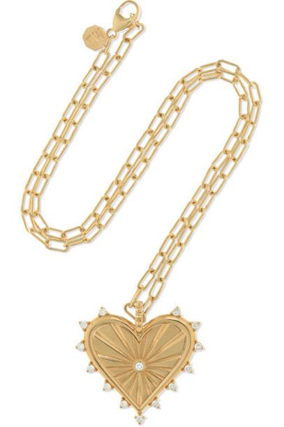 Marlo Laz - Big Heart Coin 14-karat Gold Diamond Necklace