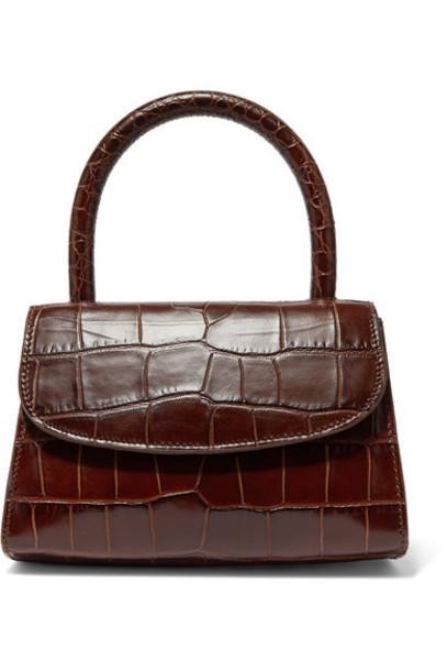 BY FAR - Mini Croc-effect Leather Tote - Dark brown