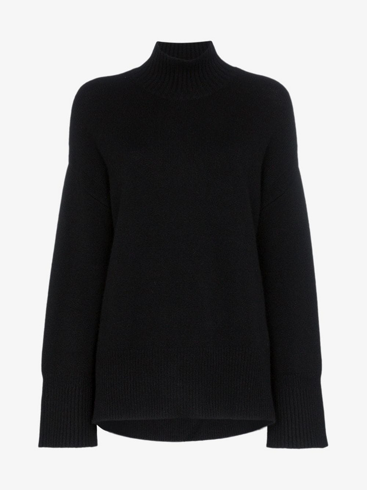 FRAME roll neck cashmere sweater in black