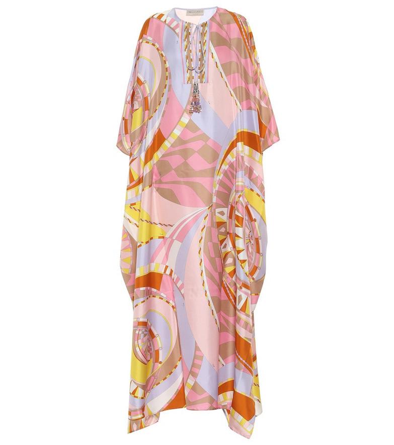 Emilio Pucci Printed silk kaftan in pink